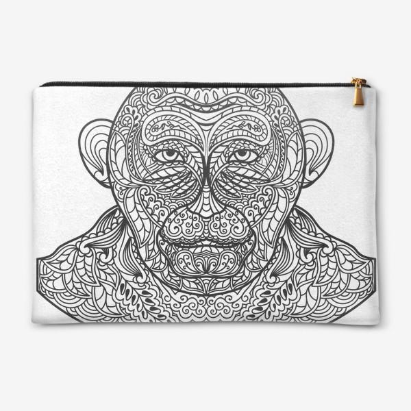 Косметичка «Узорчатая голова обезьяны. Рисунок мартышки с этническим орнаментом. Узор в стиле  дудлинг на морде животного»