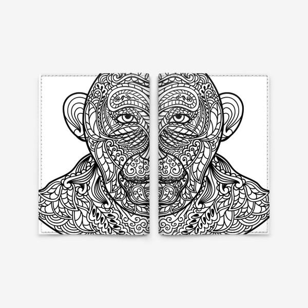 Обложка для паспорта «Узорчатая голова обезьяны. Рисунок мартышки с этническим орнаментом. Узор в стиле  дудлинг на морде животного»