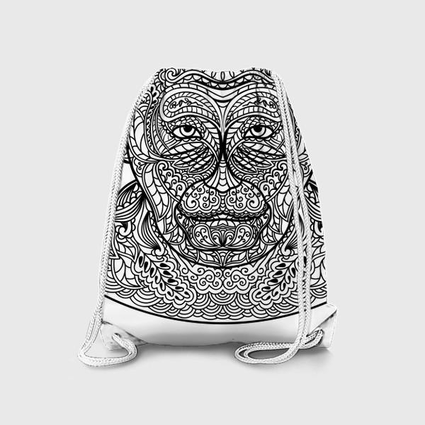 Рюкзак «Узорчатая голова обезьяны. Рисунок мартышки с этническим орнаментом. Узор в стиле  дудлинг на морде животного»