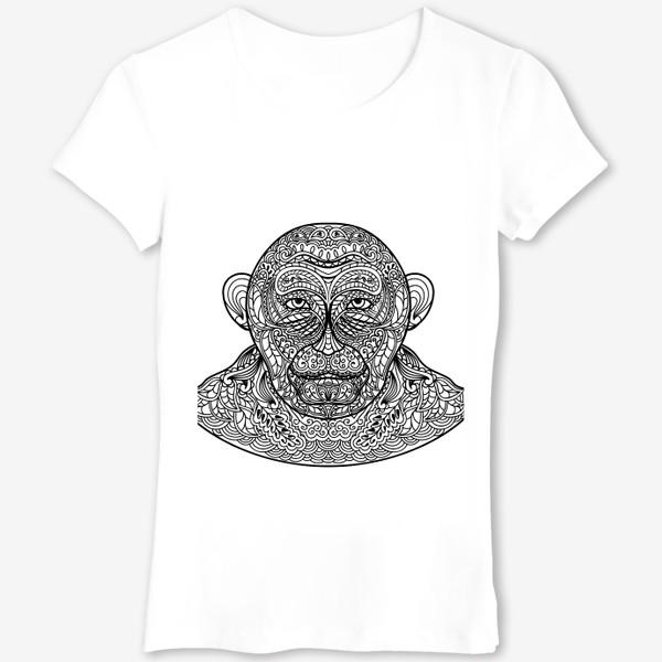 Футболка «Узорчатая голова обезьяны. Рисунок мартышки с этническим орнаментом. Узор в стиле  дудлинг на морде животного»
