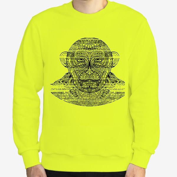 Свитшот «Узорчатая голова обезьяны. Рисунок мартышки с этническим орнаментом. Узор в стиле  дудлинг на морде животного»