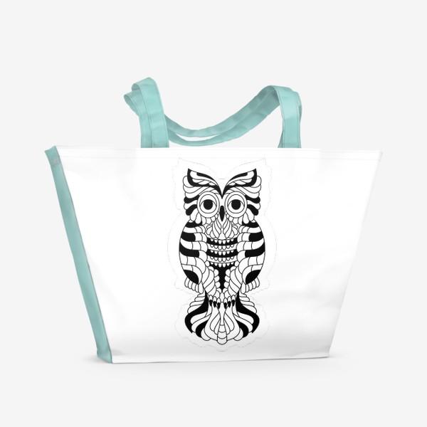Пляжная сумка «Сова черно-белая»