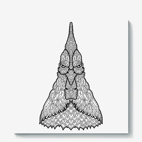 Холст «Петух  Узорчатая голова. Птица Рисунок с этническим орнаментом. Узор в стиле  дудлинг на теле животного»