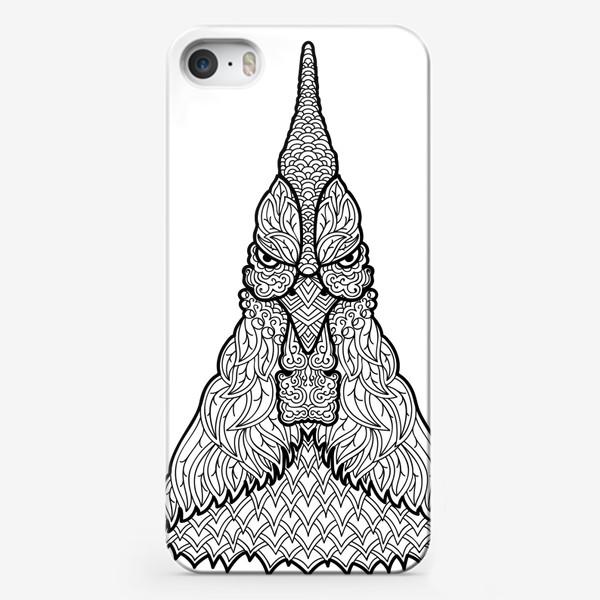 Чехол iPhone «Петух  Узорчатая голова. Птица Рисунок с этническим орнаментом. Узор в стиле  дудлинг на теле животного»