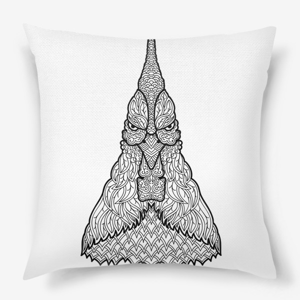 Подушка «Петух  Узорчатая голова. Птица Рисунок с этническим орнаментом. Узор в стиле  дудлинг на теле животного»