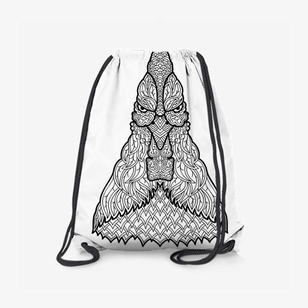 Рюкзак «Петух  Узорчатая голова. Птица Рисунок с этническим орнаментом. Узор в стиле  дудлинг на теле животного»