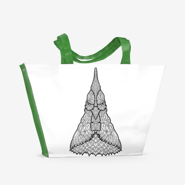 Пляжная сумка «Петух  Узорчатая голова. Птица Рисунок с этническим орнаментом. Узор в стиле  дудлинг на теле животного»