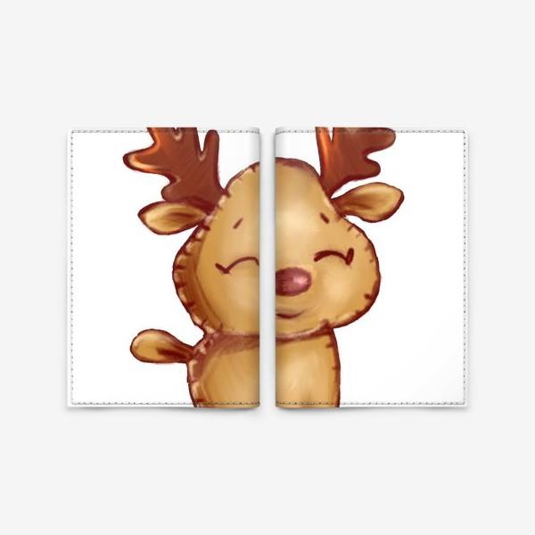 Обложка для паспорта «Олень. Стикеры. Поздравление с Новым годом и Рождеством.»