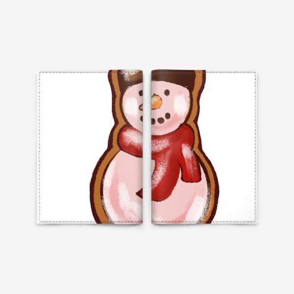 Обложка для паспорта «Снеговик. Имбирное печенье. Стикеры. Поздравление с Новым годом и Рождеством.»