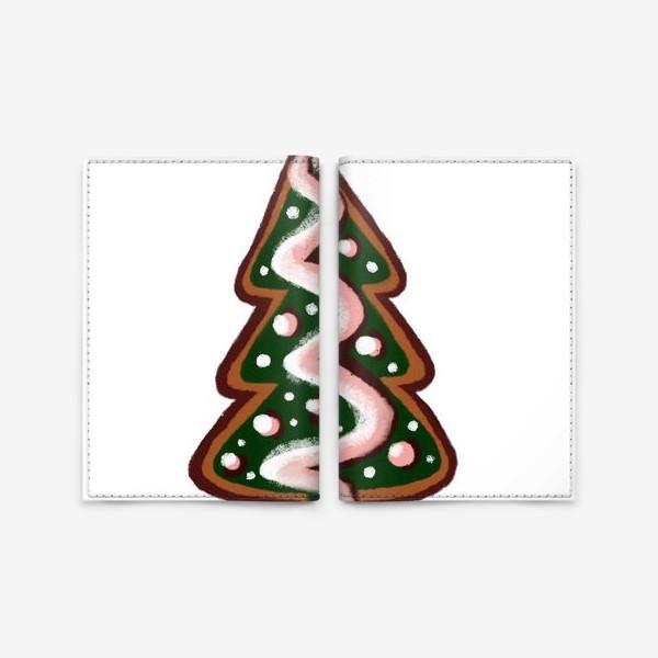 Обложка для паспорта «Елочка. Имбирное печенье. Стикеры. Поздравление с Новым годом и Рождеством.»