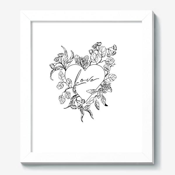 Картина «Сердце и веточки эвкалипта»