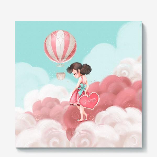 Холст «Любовь, девушка, воздушный шар»