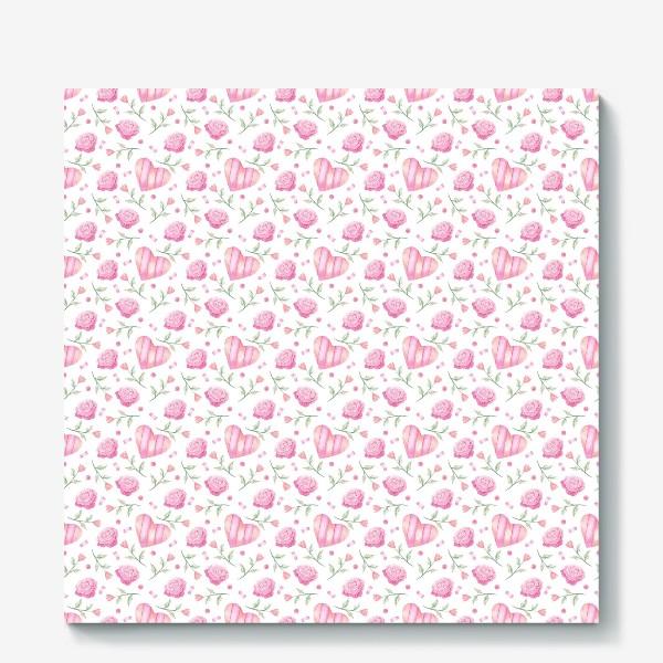 Холст «Нежный паттерн в розовых тонах с цветами и сердечками»