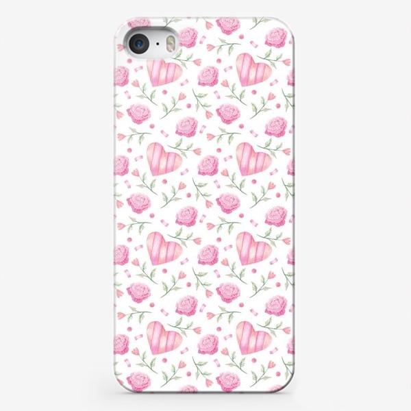 Чехол iPhone «Нежный паттерн в розовых тонах с цветами и сердечками»