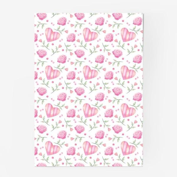 Постер «Нежный паттерн в розовых тонах с цветами и сердечками»