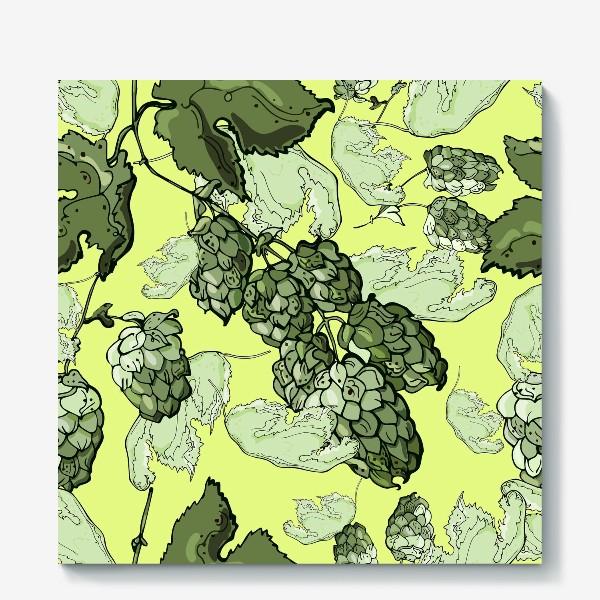 Холст «Паттерн из  соцветий и листьев хмеля на трендовом желтом»