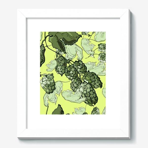 Картина «Паттерн из  соцветий и листьев хмеля на трендовом желтом»