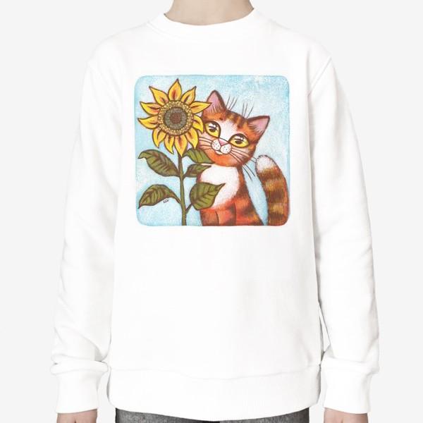 Свитшот «Кошка и подсолнух»
