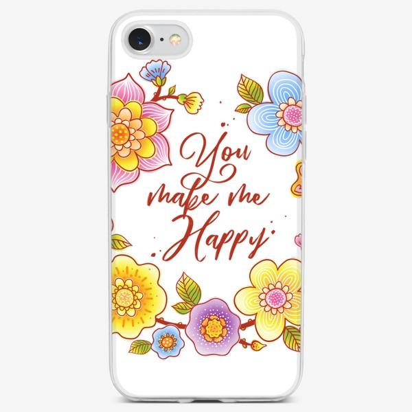 Чехол iPhone «Ты делаешь меня счастливым. You make me happy. Летний цветочный венок»