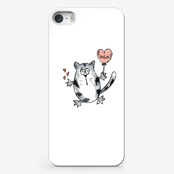 Чехол iPhone «Влюблённый кот. Ко Дню Святого Валентина. Надпись- признание: «Люблю!»»
