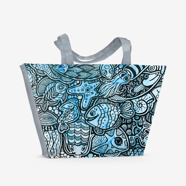 Пляжная сумка «Море, рыбы.»