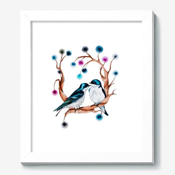 Картина «Парочка птиц.  Любовь. »