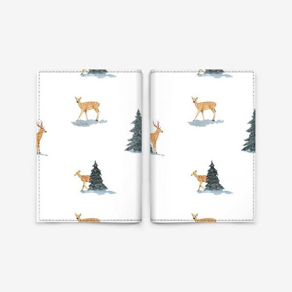 Обложка для паспорта «Олени в заснеженом зимнем лесу. Новогодний акварельный паттерн»
