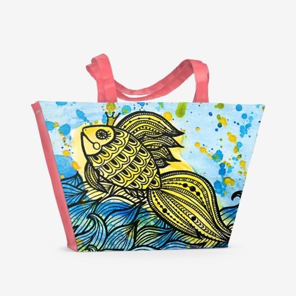 Пляжная сумка «Золотая рыбка и море»