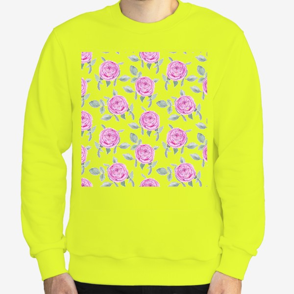 Свитшот «Розовые розы. Акварельный паттерн на белом фоне»