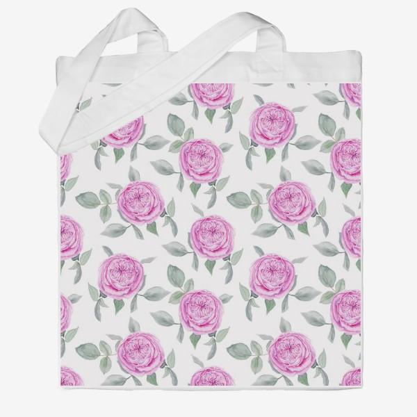 Сумка хб «Розовые розы. Акварельный паттерн на белом фоне»