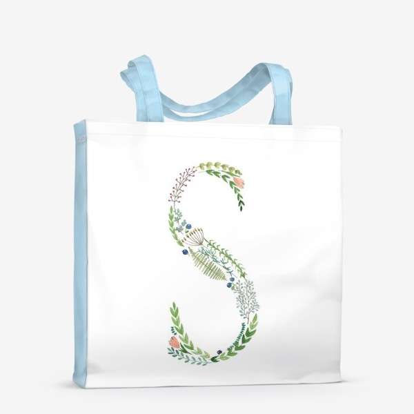Сумка-шоппер «Буква S из веточек, листьев, цветов и ягод.»