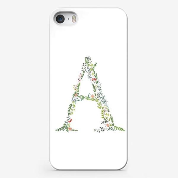 Чехол iPhone «Буква А из веточек, листочков, цветов и ягод.»