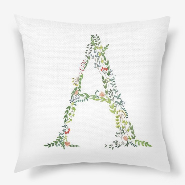 Подушка «Буква А из веточек, листочков, цветов и ягод.»