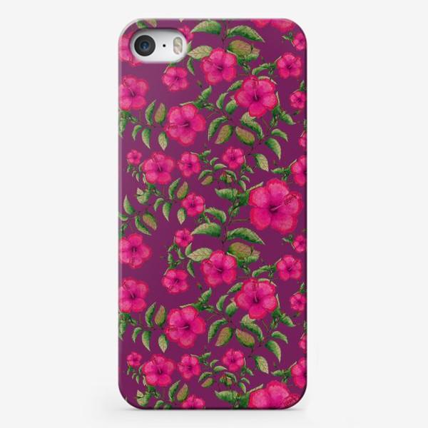 Чехол iPhone «Гибискусы на вишневом фоне»
