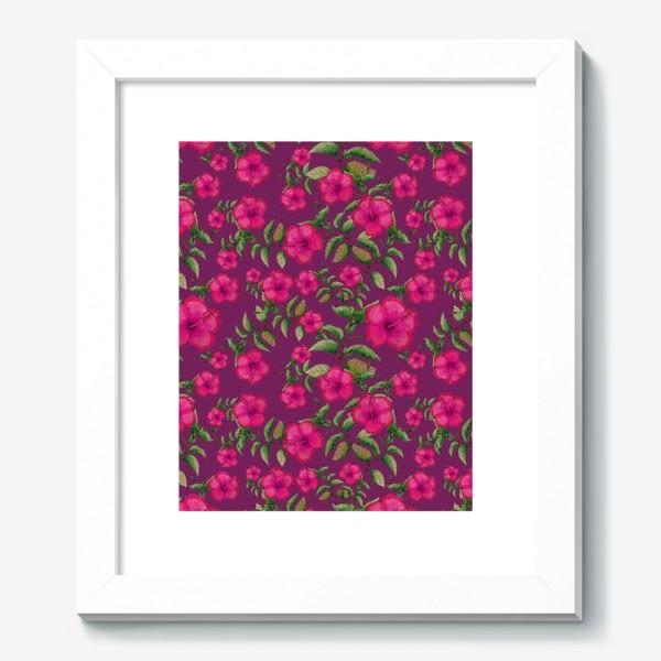 Картина «Гибискусы на вишневом фоне»