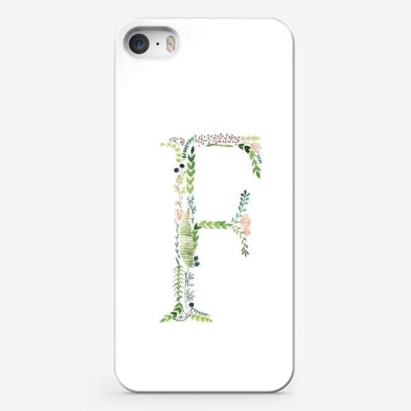 Чехол iPhone «Буква F из веточек, цветов, листиков и ягод.»