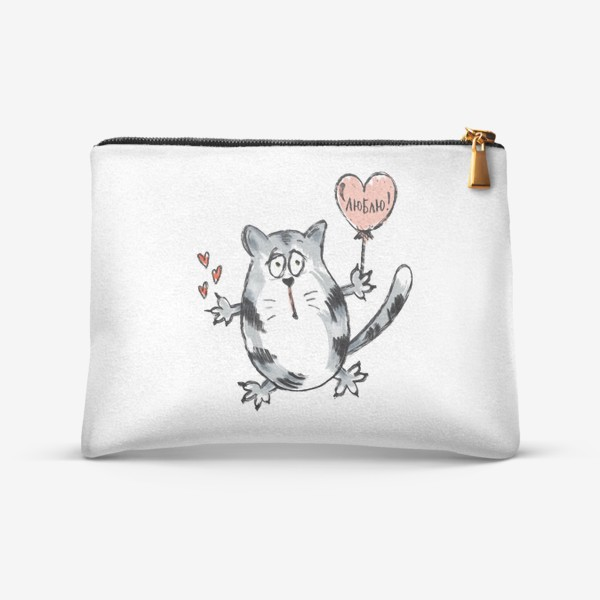 Косметичка «Влюблённый кот. Ко Дню Святого Валентина. Надпись- признание: «Люблю!»»