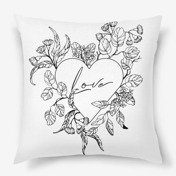 Подушка «Сердце и веточки эвкалипта»