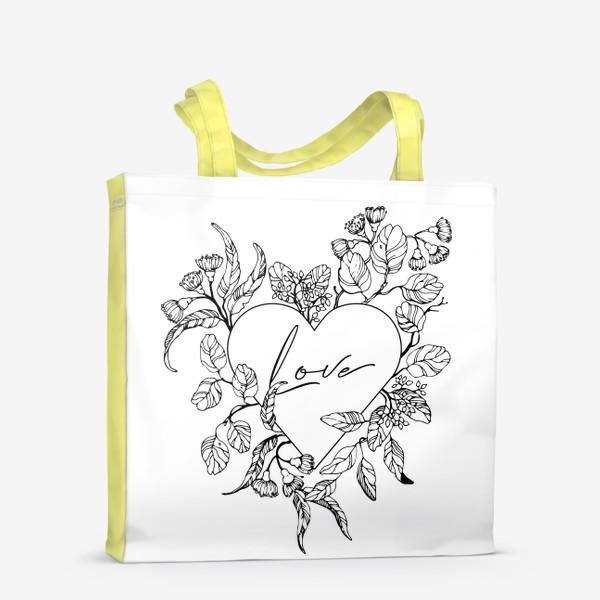 Сумка-шоппер «Сердце и веточки эвкалипта»