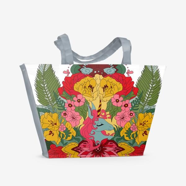 Пляжная сумка «Гавайский единорог»