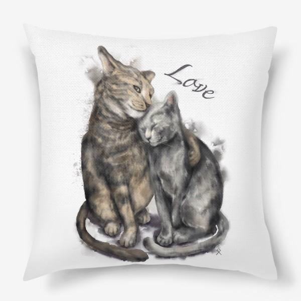 Подушка «Акварельные коты любовь »