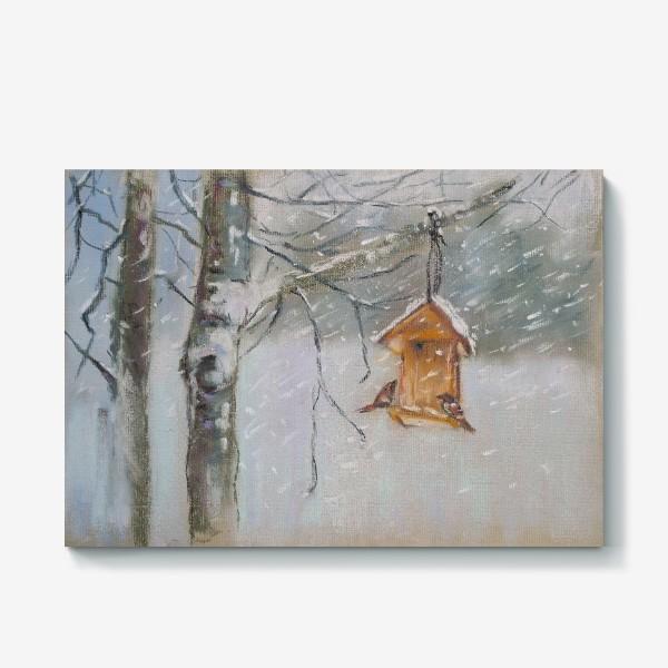 Холст «Скворечник Зимний пейзаж Пастель»