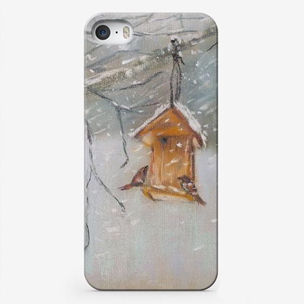 Чехол iPhone «Скворечник Зимний пейзаж Пастель»