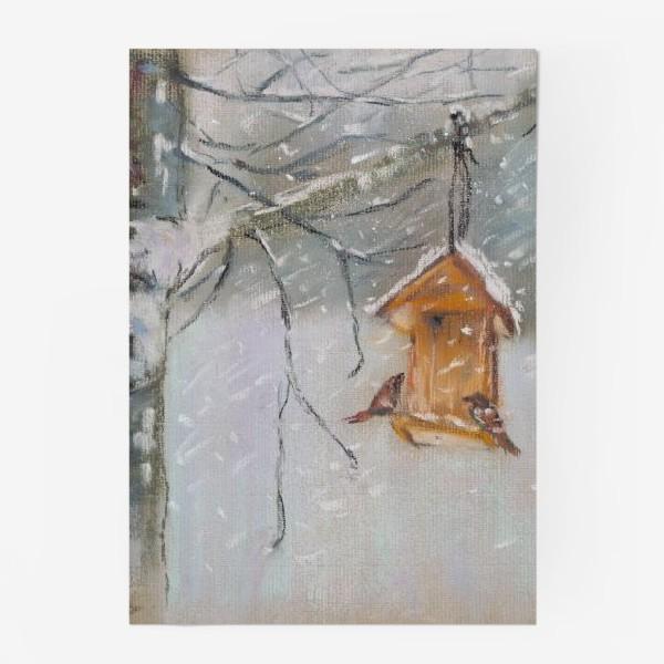 Постер «Скворечник Зимний пейзаж Пастель»