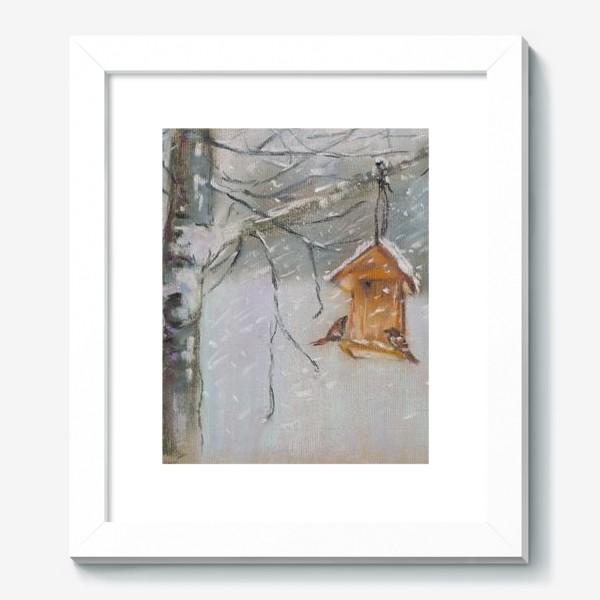 Картина «Скворечник Зимний пейзаж Пастель»