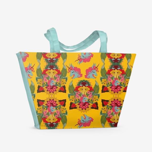 Пляжная сумка «Гавайский единорог, паттерн»