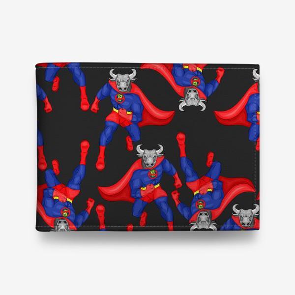 Кошелек «Бык супергерой, паттерн»
