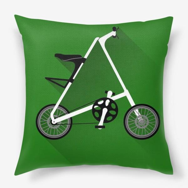 Подушка «А-байк на зеленом фоне. Велосипед»