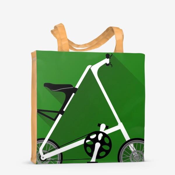 Сумка-шоппер «А-байк на зеленом фоне. Велосипед»
