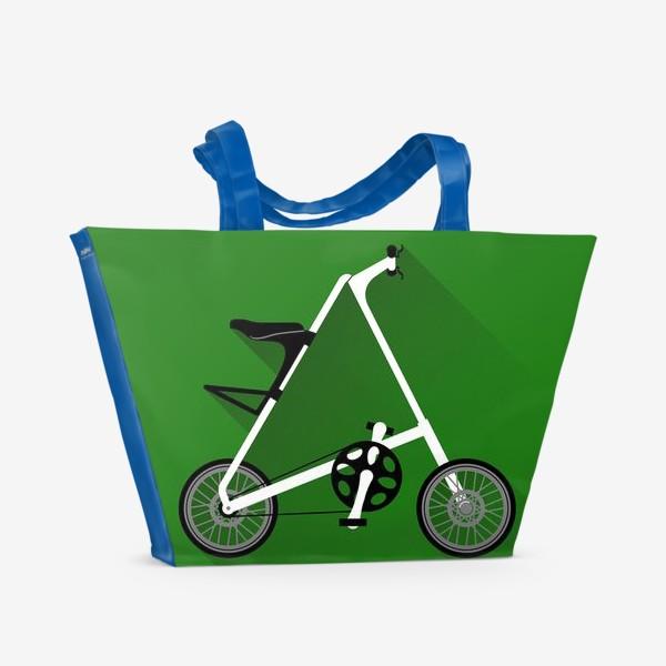 Пляжная сумка «А-байк на зеленом фоне. Велосипед»